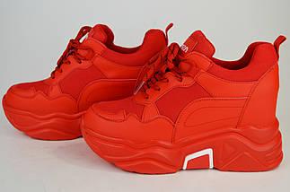 Кроссовки красные на платформе Lonza 8613, фото 3