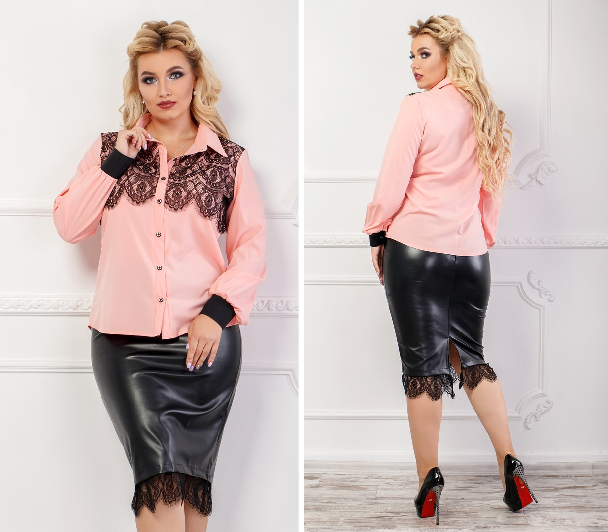 Женский костюм экокожа Батал, Женский юбочный костюм блузка со вставками гипюра и юбка из эко-кожи большого размера.