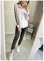 Рубашка Женская Длинный рукав, Женская рубашка с полоской на рукаве, Рубашка женская с отложным воротником длинный рукав,, фото 2