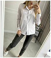 Рубашка Женская Длинный рукав, Женская рубашка с полоской на рукаве, Рубашка женская с отложным воротником длинный рукав,, фото 5