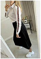 Рубашка Женская Длинный рукав Батал, Женская рубашка с полоской на рукаве Больших размеров, Рубашка женская с отложным воротником длинный рукав,, фото 4