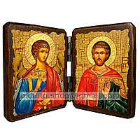 Именная икона по имени Евгений Севастийский икона складень двойной деревянный 140х100мм