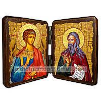 Именная икона по имени Илия Святой Пророк икона складень двойной деревянный 140х100мм