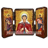 Именная икона по имени Валентина Святая Мученица Кесарийская икона складень тройной деревянный 140х100мм