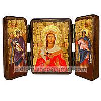Именная икона по имени Варвара Святая Великомученица икона складень тройной деревянный 140х100мм