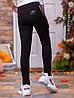 Лосины детские черные для девочки №8212Ч турецкий трикотаж с чорными лампасами из экокожи, фото 3