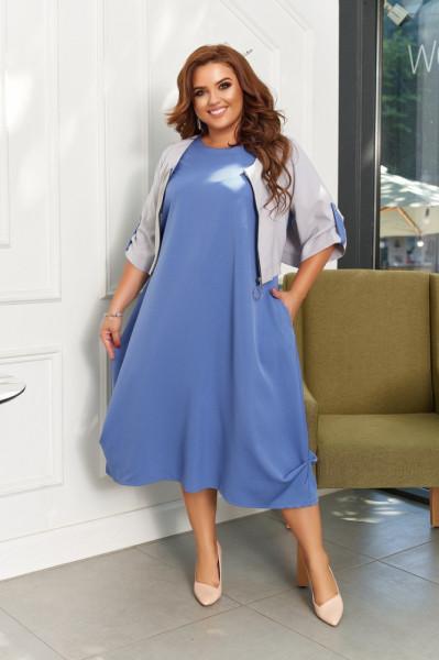 Костюм платье с болеро больших размеров 50-60 джинс