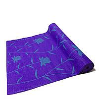 Коврик для йоги, фитнеса и аэробики 1730×610×4мм, PVC, BS, Print, однослойный Фиолетово-зеленый
