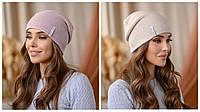 """Двостороння шапка """"Тандем"""" колір пудра-беж"""