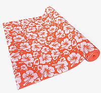 Коврик для йоги, фитнеса и аэробики 1730×610×4мм, PVC, BS, Print, однослойный Оранжево-белый