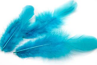 Декоративные перья для рукоделия, 30шт. Длина 7-9 см. Цвет Морская волна