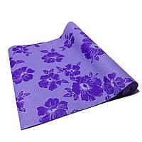 Коврик для йоги, фитнеса и аэробики 1730×610×4мм, PVC, BS, Print, однослойный Фиолетово-белый