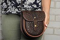 """Кожаная женская сумка """"Дубок"""", сумка через плечо, мини сумочка, коричневая сумка, фото 1"""