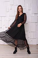 Нарядное черное платье миди из сетки в точку