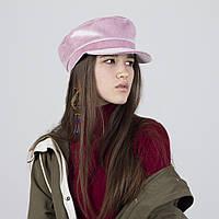 Кепи кепка  женская  демисезонная с хлопковой подкладкой бархатная  розовая
