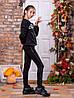 Лосины детские черные для девочки турецкий трикотаж  №8219 с лампасами из люрекса, фото 2