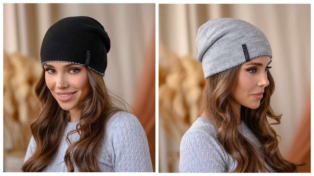 """Двухсторонняя шапка """"Тандем"""" цвет черный-серый"""