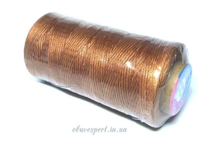 Нитка вощена по шкірі (плоский шнур), т. 0,8 мм, 260 м, кол.  світло-коричневий, фото 2