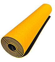 Коврик для йоги 1830×610×6мм, двухслойный, оранжевый
