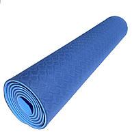 Коврик для йоги 1830×610×6мм, двухслойный, синий