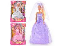 Кукла Невеста 29 см в красивом платье с фатой Lucy Defa 6003 с букетом. Три цвета платья Т