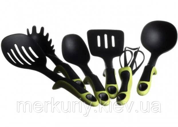 Набор кухонных принадлежностей Kitche Tools 7 предметов зеленый   Кухонный набор с подставкой