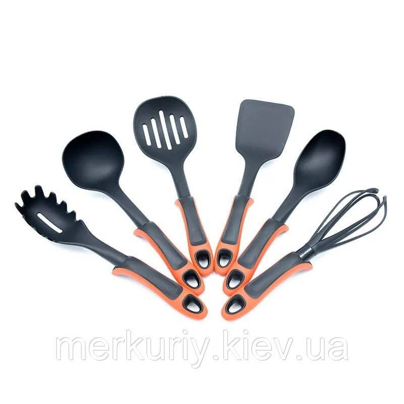 Набір кухонного приладдя Kitche Tools 7 предметів червоний | Кухонний набір з підставкою