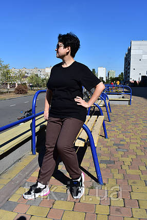 Штаны с начесом женские коричневого цвета, фото 2