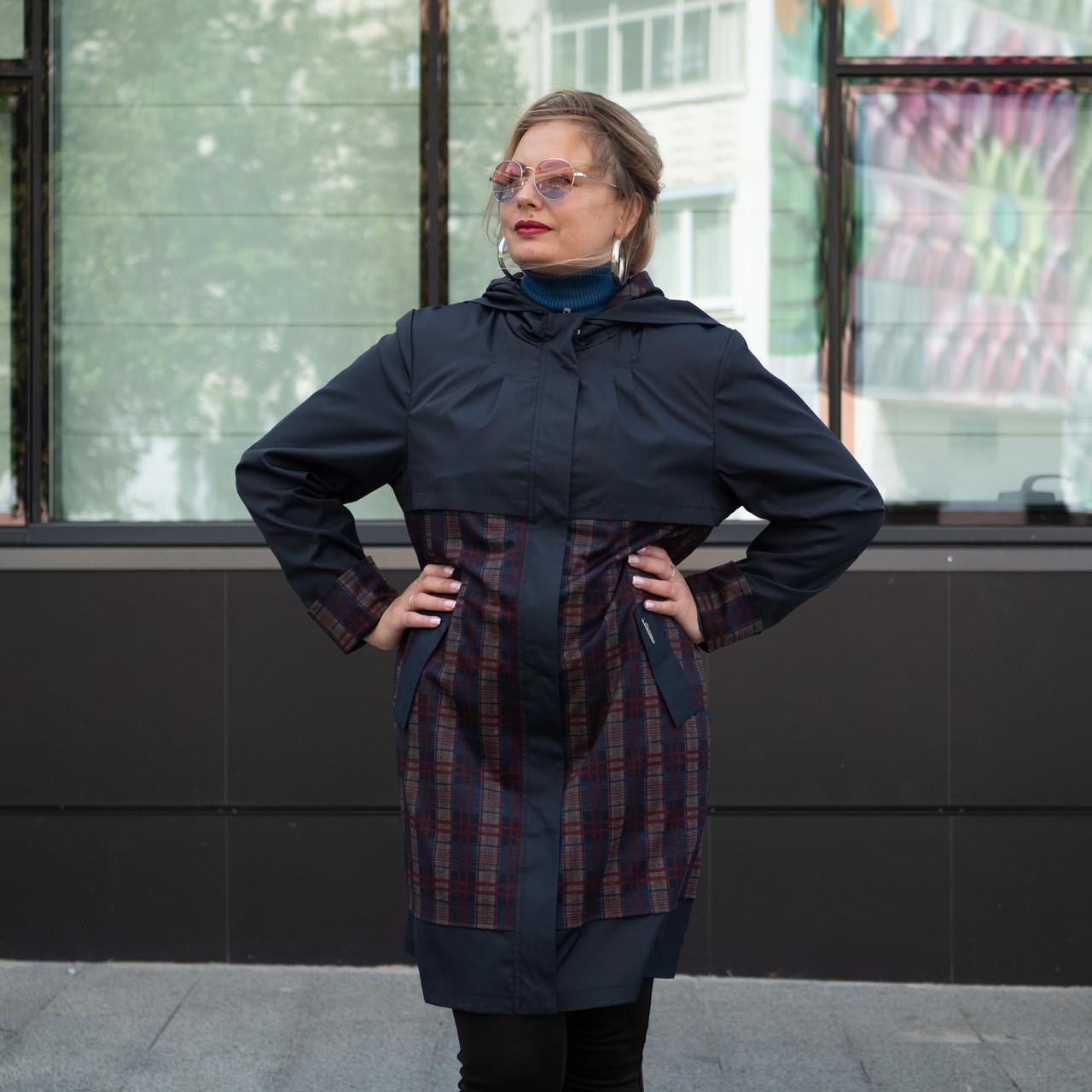 Модний жіночий плащ великого розміру 50-58 синій+червоний