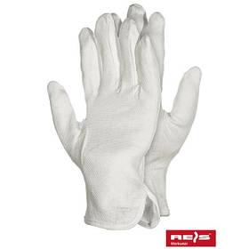 Перчатки для официанта трикотажные белые с напылением размер 10 12