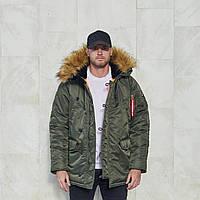 Зимняя мужская парка куртка аляска Olymp - Аляска N-3B, Slim Fit, Color: Khaki (100% Нейлон)