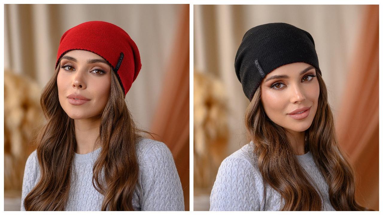 """Двухсторонняя шапка """"Тандем"""" цвет красный-черный"""