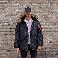 Зимняя мужская парка куртка аляска Olymp - N-3B, Slim Fit, Color: Black (100% Нейлон), куртка аляска