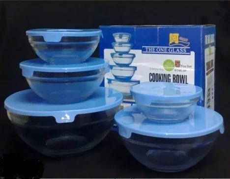 Набор стеклянных емкостей с крышками, кухонные судки Cooking Bowl 5 шт., фото 2