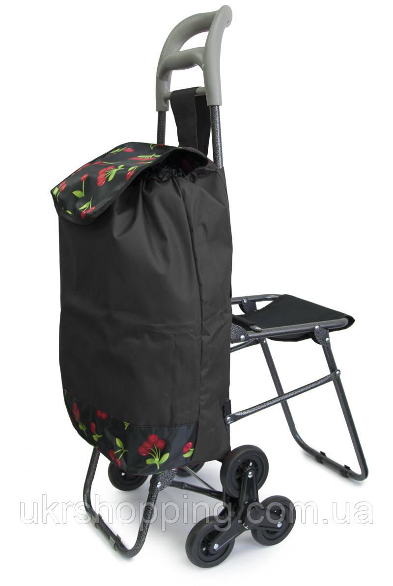 Візок господарська, на коліщатках | ручний візок для продуктів, Колір №19 кравчучка з сумкою