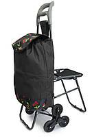 Візок господарська, на коліщатках | ручний візок для продуктів, Колір №19 кравчучка з сумкою, фото 1