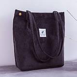 Женская вельветовая тряпчаная текстильная пляжная сумка шоппер черная с ручками через плечо для покупок, фото 2