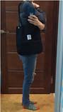 Женская вельветовая тряпчаная текстильная пляжная сумка шоппер черная с ручками через плечо для покупок, фото 3