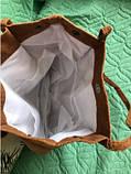 Женская вельветовая тряпчаная текстильная пляжная сумка шоппер черная с ручками через плечо для покупок, фото 4