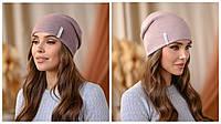 """Двостороння шапка """"Тандем"""" колір темна пудра-пудра"""
