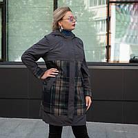 Модный женский плащ большого размера 50-58 темная пудра