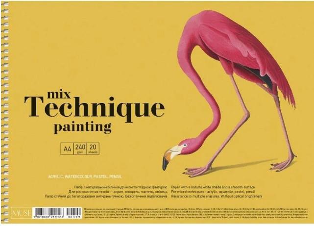 "Альбом для малюв. на пруж. 20арк. A4 ""Muse"" Mix Technique №PB-SC-020-309/Школярик/(1)(36)"