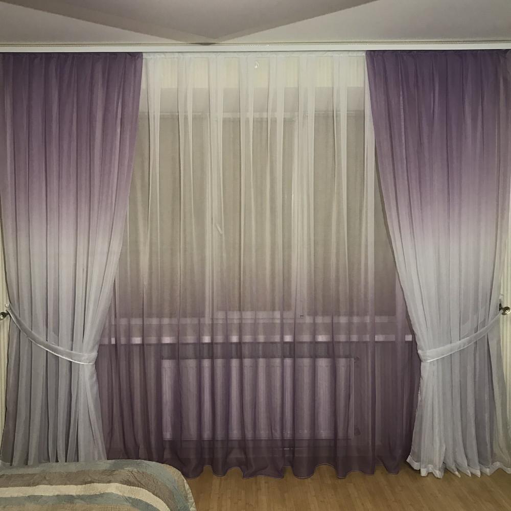 Готовый Комплект тюль и шторы на 3-х метровый карниз Шифон-растяжка Омбре Карнавал Градиент  Сиреневого цвета
