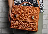 Большая кожаная сумка-портфель,  рыжая сумка ручной работы из натуральной кожи, фото 1