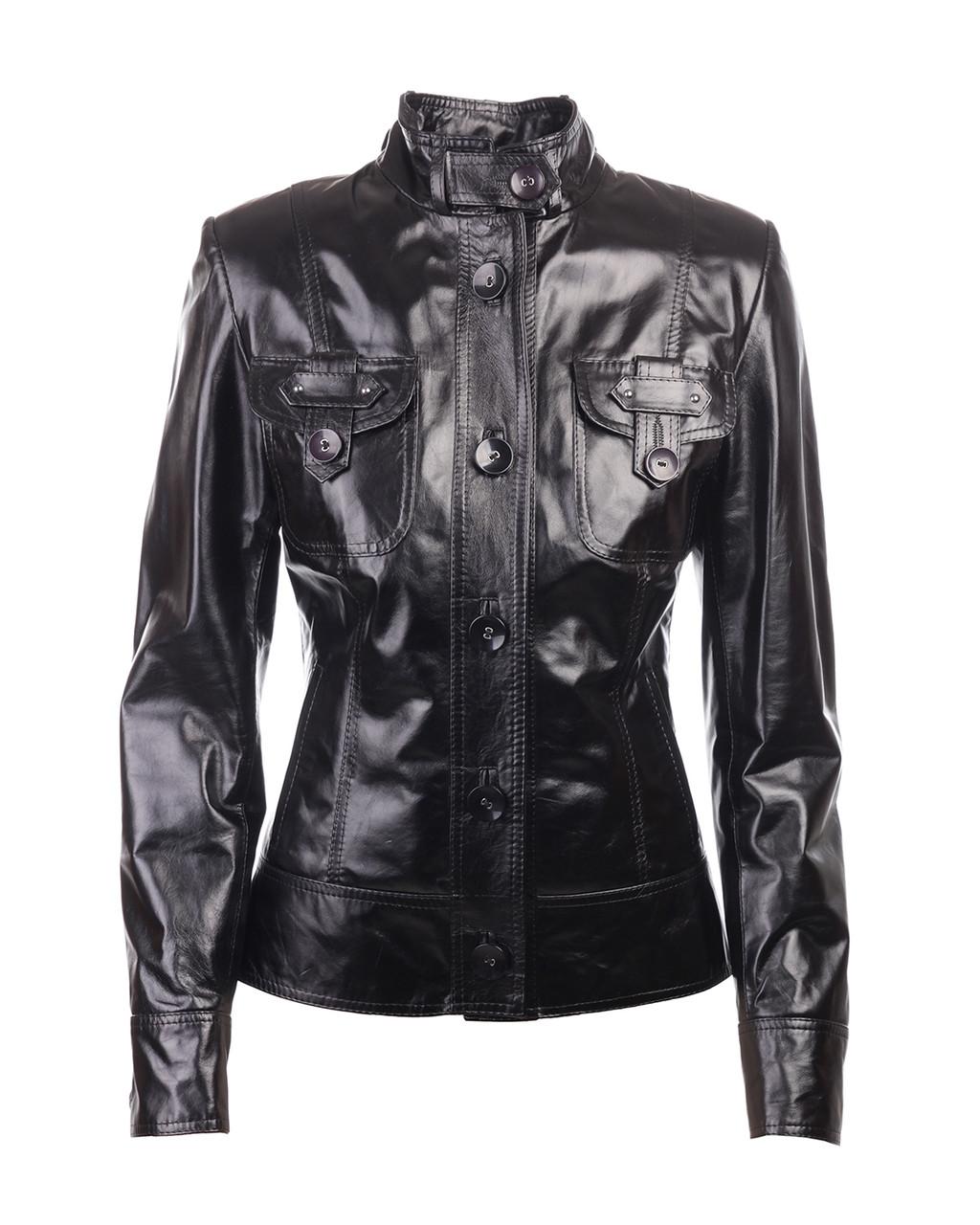 Куртка-піджак жіноча шкіряна чорна 44 розміру (Арт. PO201)