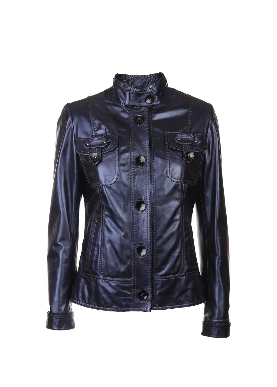 Кожаная куртка женская VK синяя короткая (Арт. PO281)