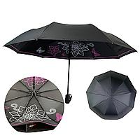 Жіночий складаний парасолька-напівавтомат з подвійною тканиною від Flagman з прінтом квітів і метеликів, чорний, 515F-4, фото 1