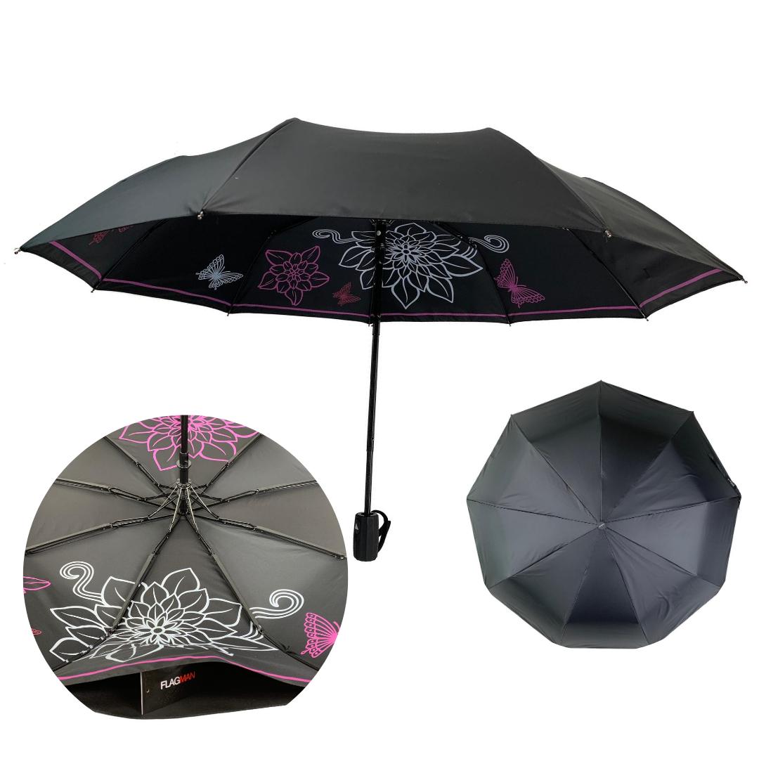 Жіночий складаний парасолька-напівавтомат з подвійною тканиною від Flagman з прінтом квітів і метеликів, чорний, 515F-4