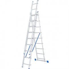 Лестница, 3 х 9 ступеней, алюминиевая, трехсекционная, Россия, Сибртех