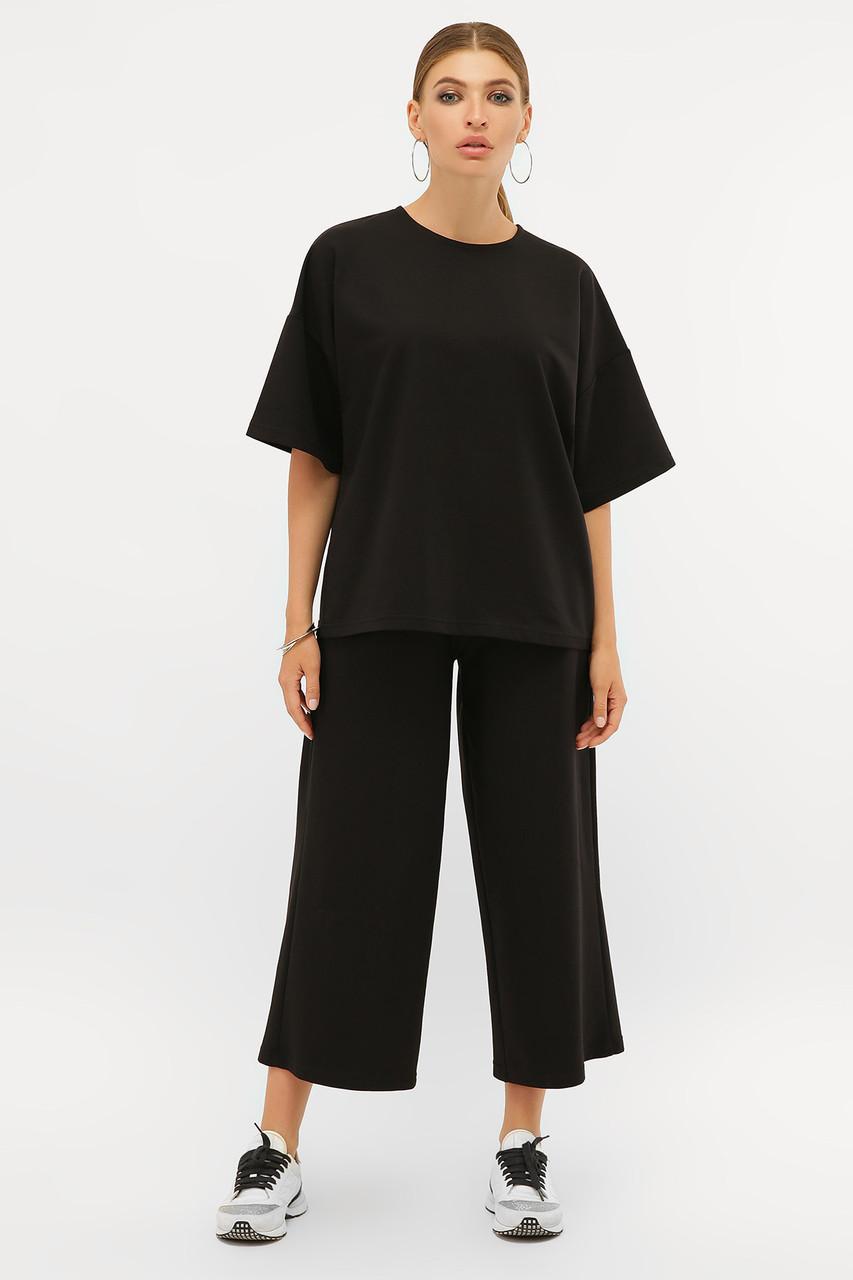 Модний чорний костюм з бавовни Бермуди і футболка оверсайз S M L XL